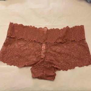 5/$15✨ VS PINK Mauve Floral Lace Cheeky Boyshort